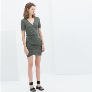 Zara Trafaluc Olive Green Gathered Deep V Dress